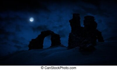 Castle Ruins On Hilltop With Moon - Ancient stone ruins on...