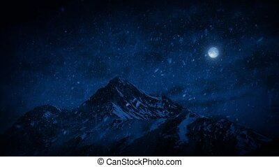 Snow Falling On Mountains At Night