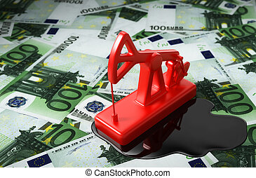 Red Pumpjack And Spilled Oil Over Euros 3D Illustration