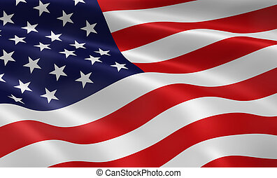 American Flag - American flag blowing in the wind. Part of a...