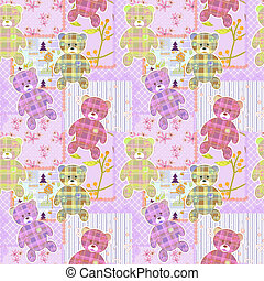 Patchwork for kids with elements and bears background