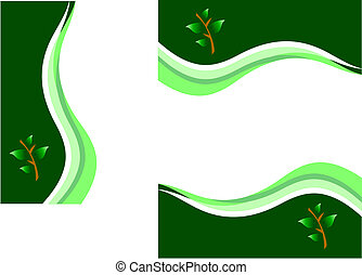 A set of environmental green vector business stationary comprising letterhead, document cover and business card