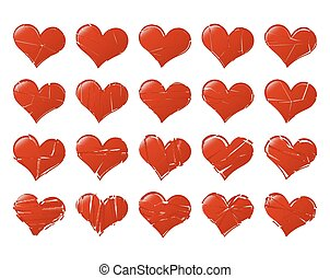 Set of vector broken hearts shape classic Fall out of Love...