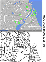 Copenhagen - Illustration city map of Copenhagen in vector.