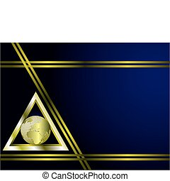 A deep blue and gold Business card or Background Template...