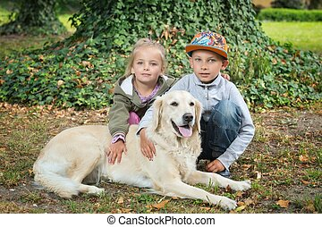 siblings with a golden retriever - brother and sister...
