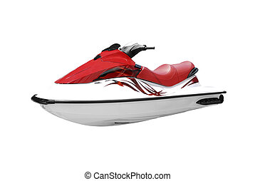 fast red and white jet ski isolated