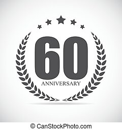 Template Logo 60 Years Anniversary Vector Illustration EPS10