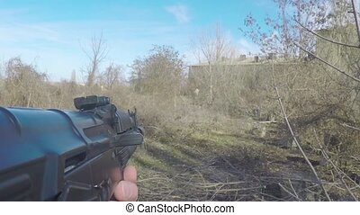 Playing airsoft first person
