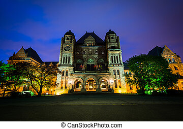 The Legislative Assembly of Ontario at night, at Queen's Park, in Toronto, Ontario.