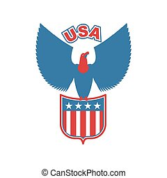 USA eagle Shield. Birds of prey in olors of American flag....