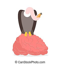 Vultures and brain. Griffon bite mind. Condor and entral...