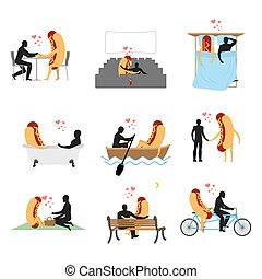 Love for hot dog set. Man and fast food in cinema. Lovers in bath. Romantic date with food. Boating feed. Joint walk. Cycling tandem. Breakfast in cafe. Picnic in park