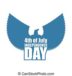 Independence Day of America emblem. Silhouette of eagle with outstretched wings. July 4 USA national holiday. Logo for patriotic holiday