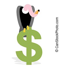 Vulture and Dollar. Condor, Griffon and sign of money. Scavenger birds of prey. Business illustration