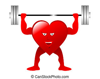 A red cartoon heart figure lifting weights depicting...