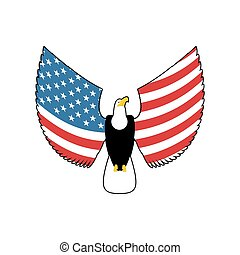 Eagle with American flag wings. USA national symbol. Patriotic bird