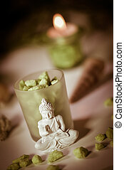 Candles and Boudha Religion - Candles Flame and Boudha...