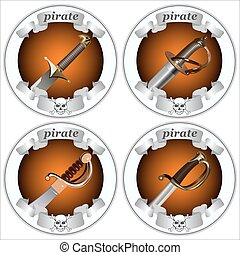 icons pirate swords - round icons with pirate swords on a...