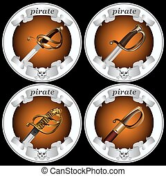 icons pirate swords3 - round icons with pirate swords on a...