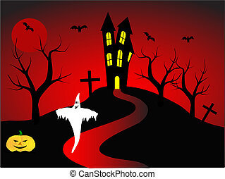 A halloween vector illustration with a happy ghost in front of a haunted house
