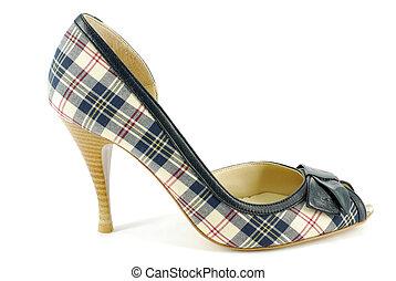 woman plaid high heel shoe