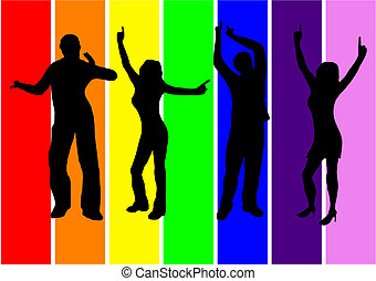 Dancers in silhouette against a rainbow background