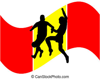 Footballers with spanish flag - Footballers in silhouette...