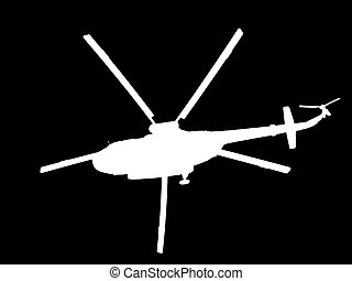 silhouette of a helicopter on a black background