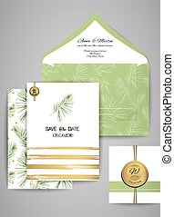 Collection of Wedding invitation card suite with watercolor palm branch. Vector Templates: invitation, save the date card.