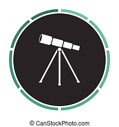 Telescope computer symbol - Telescope Simple flat white...