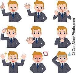 Facial expression set of young Caucasian businessman -...