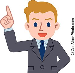 Young Caucasian businessman Pointing - Vector...