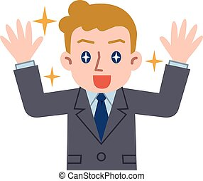 Young Caucasian businessman to delight - Vector...