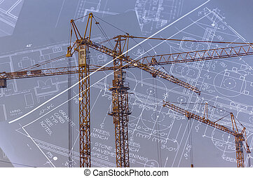 Concept of architecture - Blueprints and construction...