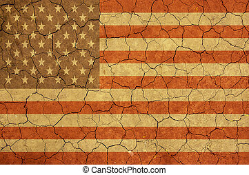 Abstract American flag - American flag and dry earth surface...