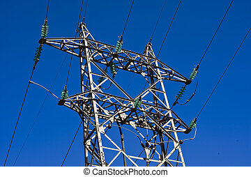High voltage power lines and blue sky