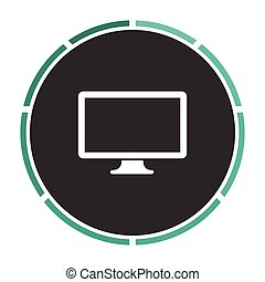 Monoblock PC computer symbol - Monoblock PC Simple flat...