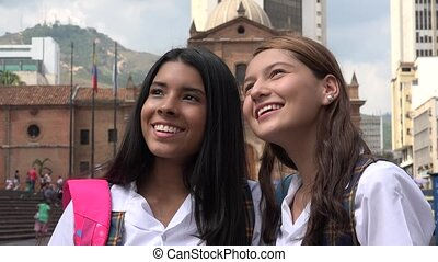 Excited Female Teen Students