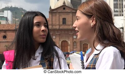 Female Teen School Girls Talking