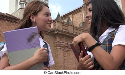 Teen Students Talking Holding Textbooks