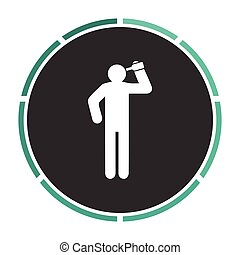 drunkard computer symbol - drunkard Simple flat white vector...