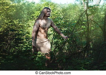 Man living in the woods like a wild. - European man became...