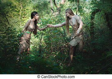 White people in the forest. - White people began to live in...
