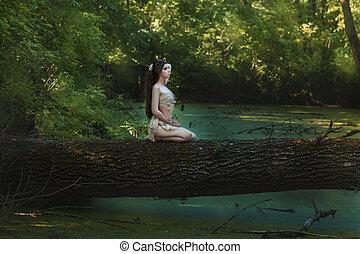 mujer, en, el, woods.,