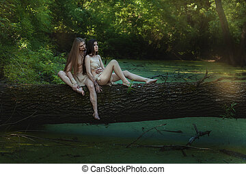 pareja, en, el, woods.,
