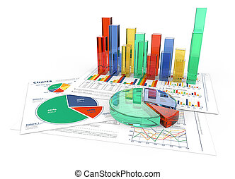 Analyze. - Financial documents with colorful 3D graphs and...