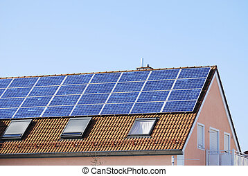 House roof with solar panels