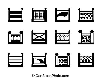 Various railings for balconies - vector illustration