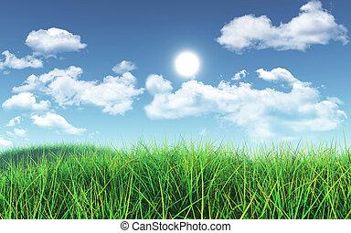 3D Green grass against blue sky